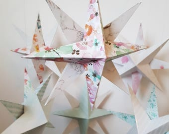 Origami STAR Hoop Mobile, 8 point star, 3D star, Nursery Gift, Baby Shower, Baby Girl, Baby Boy, New Mum Gift, Colourful, Customised,