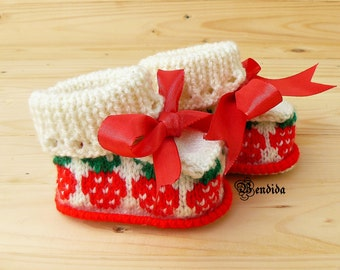 Strawberry Baby Booties, Baby Girl Boots, Hand Knit Baby Shoes, Crochet Baby Shower, White Baby Booties, Red Baby Shoes, Newborn Girl Gift.