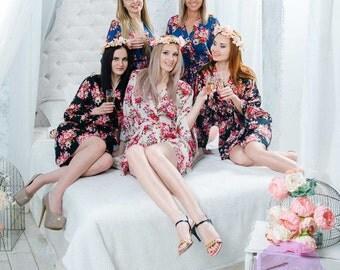 SALE! Free Robe Set of 10+, Bridesmaid Robes, Cotton Floral Robe, Getting Ready Robes, Wedding Robe, Kimono Robe, Bridesmaid Gift