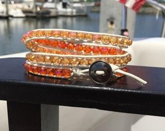 Orange and White Crystal Wrap Bracelet. Orange Beaded and White Leather Wrap Bracelet.