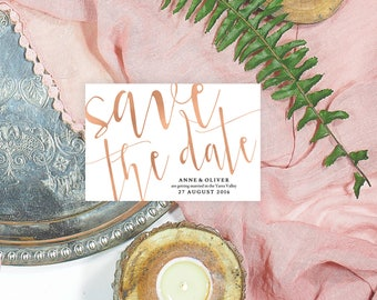 Rose gold save the date cards, Printable save the date template, Editable Save the date, Blush save the date printable, Rose gold stationery