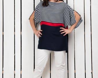 Oversized marine top, oversized summer blouse, oversized spring blouse, casual summer top, plus size blouse, plus size top, viscose top
