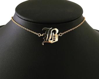 SINGLE LETTER CHOKER uppercase, custom necklace, personalized necklace, heart necklace, letter necklace, letter choker, initial choker