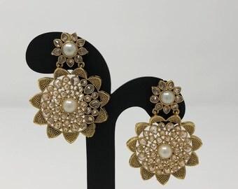 Indian Earrings - Indian Jewelry - Bollywood Earrings - Bollywood Jewelry - Indian Bridal Jewelry - Chandbali Earrings - Kundan Jewelry -