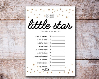 Twinkle Twinkle Little Star Baby Shower Games, the price is right, Gold Baby Shower game, baby Shower activity INSTANT DOWNLOAD DIY