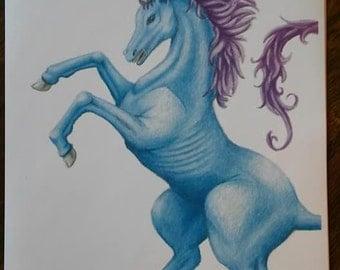 Blue unicorn print