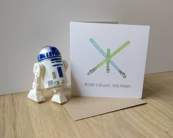 STAR WARS inspired new baby card  watercolour design greetings card for welcoming baby Jedis!