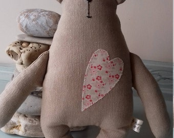 Big Love Bear, soft toy bear, plushie toy or decoration, appliqued heart, gift for loved one, valentines gift