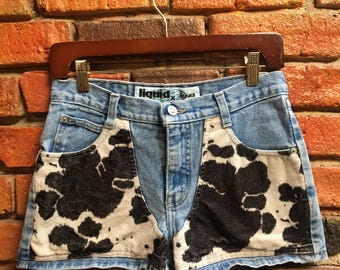 Vintage Jean Shorts with Cow Print Front Denim 1387