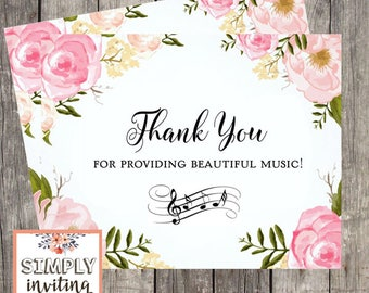 Wedding Singer Card, Thank You DJ, Wedding Band Thank You Card, Wedding Choir Thank You, Thank You For The Beautiful Music Card, Card For DJ