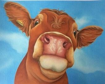 """limousin cow painting """"Fleur D'Oranger"""""""