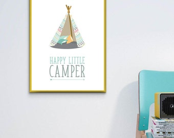Happy Little Camper Poster - 8x10 Instant Download
