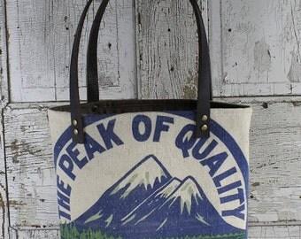 Vintage Anderson Feed Sack Shoulder Bag | Repurposed | Upcycled | Tote Bag | Feedsack | Grain Sack | Seed Sack | Peak Seed