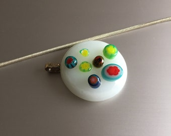 Glass Pendant-Jewelry-Gift woman-handmade glass-glass art-Unique glass-Dutch design-necklace-Gift woman-gift-spectrum glass-white-millefiori