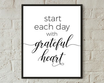 motivational poster home decor prints start each day with grateful heart inspirational quotes printable art black white prints wall art gift