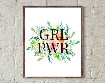 grl pwr print feminist poster printable girls room decor teen girl wall art quote prints women's bedroom decor girls feminist print download