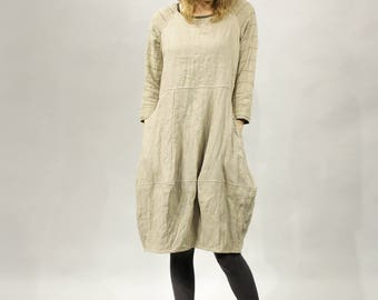 Natural rough linen, Linen dress, Long sleeves, Boat neck shape, Original dress, Dress with pockets, Stylish, Women's clothes, Dresses