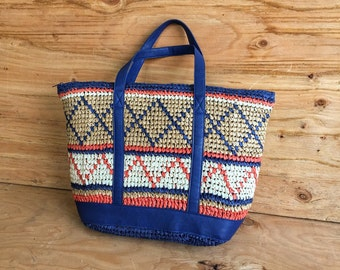 Tribal Woven Straw Bag // Navy Blue Straw Beach Bag Tote // Colorful Straw Bag