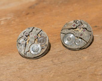 Steampunk Stud Earrings, Vintage Mechanical Watch Parts, Steampunk Jewelry, Watch Part Earrings, Repurposed Jewelry