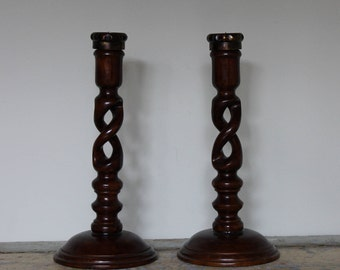 Pair of Open Barley Twist Candle Holders