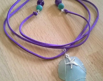 Wire Wrapped Sea Glass necklace (Open Tie)