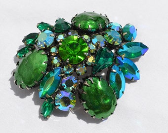 Blue and Green Rhinestone Aurora Borealis Cluster Brooch, Round