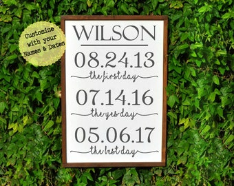 Personalized Wedding- The First Day, the Yes Day, The Best Day, Important Date Sign, Wedding Gift, Anniversary SweetPineDesign Special Dates