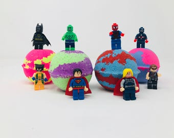 Sale! Three or Five 7.0 oz Lego Justice League / Marvel Lego Inspired Bath Bomb Birthday Party Favor Set with Surprise Toy Figure.