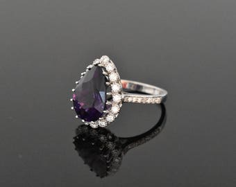 18K White Gold Amethyst and Diamond Ring | Very Fine Amethyst | Diamond Halo | Handmade Fine Jewelry | Engagement Ring | Pear Cut Amethyst