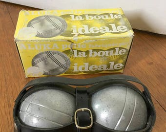 Pétanque boules, set of two French bowls in their original packaging, french game, outdoor game, french culture,