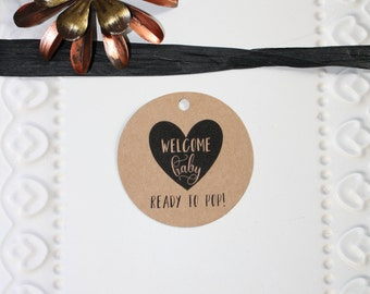 Welcome Baby // Ready To POP tag // Baby Shower Favor // Popcorn favor