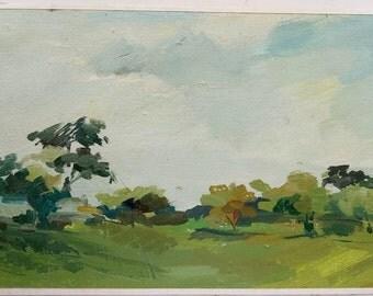 Original vintage oil painting on primed cardboard, landscape, original art home decor, wall art, fine art