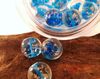 Set 3x Pearl in transparent blue glass, 16 mm-18 mm