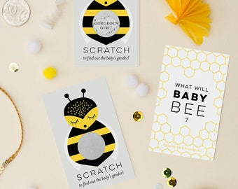 24 Gender Reveal Scratch Off Cards - What Will Baby Bee