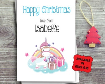 Kids Christmas Card Packs, Multipack Personalised Christmas, Festive Greeting Cards, Set Of Cards, Free UK Shipping