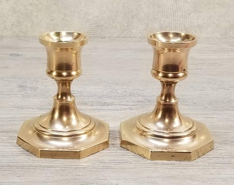 Pair of Vintage Brass Candleholders, Octagon Base, Made in India