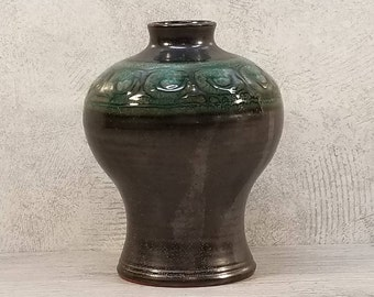VTG 1960s-70s Marked STUDIO ART Metallic Black & Teal Vase German Pottery Fat Lava Era Midcentury Modern