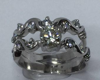 Wedding Ring Set, Diamond Ring Set, Over Half Carat, Bridal Sets, 14K White Gold, Ring Set, Engagement Ring, Wedding Ring, Anniversary Gift