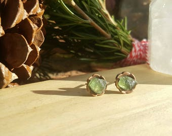EVERGREEN - Apatite Gemstone Earrings, Green Apatite Crystal Studs, Raw Green Apatite, Dainty Green Earrings, Gifts for Her, Gifts Under 20