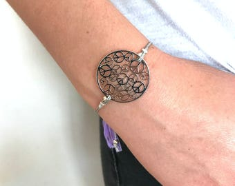 Silver Bracelet, Hippie Bracelets, Peace Sign Bracelet, Boho Jewelry, Boho Bracelet, Purple Bracelets, Women's Silver Bracelet, Gift for her