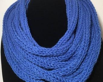 Bright dusty blue multi strand merino scarf