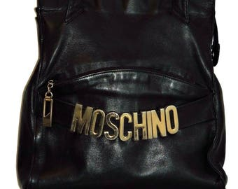 Authenitic MOSCHINO SHOULDER PURSE Bag Black Leather  Circa 1980'S Large Italy