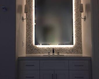 Backlit Frameless Mirror