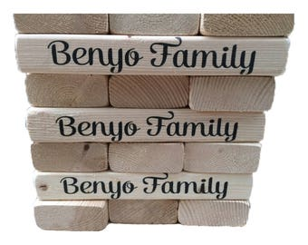 Personalized Family Game Night Giant Tumble Blocks | 54 2x4 Lifesize Wood Block Game |Jumbo Yard Game | Wedding Guest Book | Tailgate Game