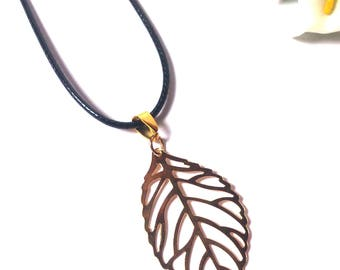 Necklace Gold - Necklace Gold Leaf Tree - Leather Necklace - Necklace for Women - Fashion Necklace - Minimalist - Necklace - Gift