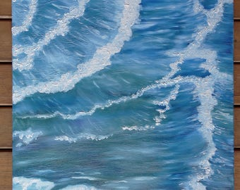 Original Waves Painting - Irish Atlantic Ocean - Oil Painting on Canvas - CalenJane