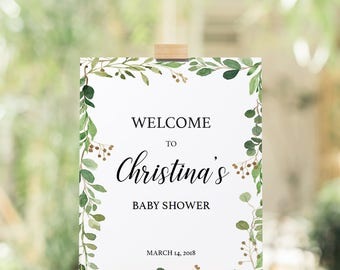 Green Baby Shower Welcome Sign Instant Download, Greenery Welcome Sign Printable, Welcome Baby Shower Sign Woodland Green Leaves Signage GL1