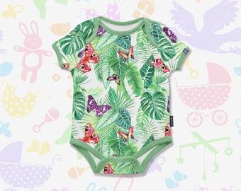Tropical Leafs Baby Onesie Baby Bodysuit Tropical Bodysuit Leafs Baby Bodysuit