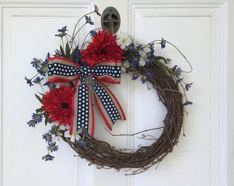 Floral Fourth of July Grapevine Wreath with Bow