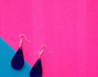 Big blue laser cut tear drop // rain drop 80's perspex acrylic earrings